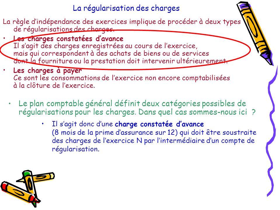 La régularisation des charges Le plan comptable général définit deux catégories possibles de régularisations pour les charges.