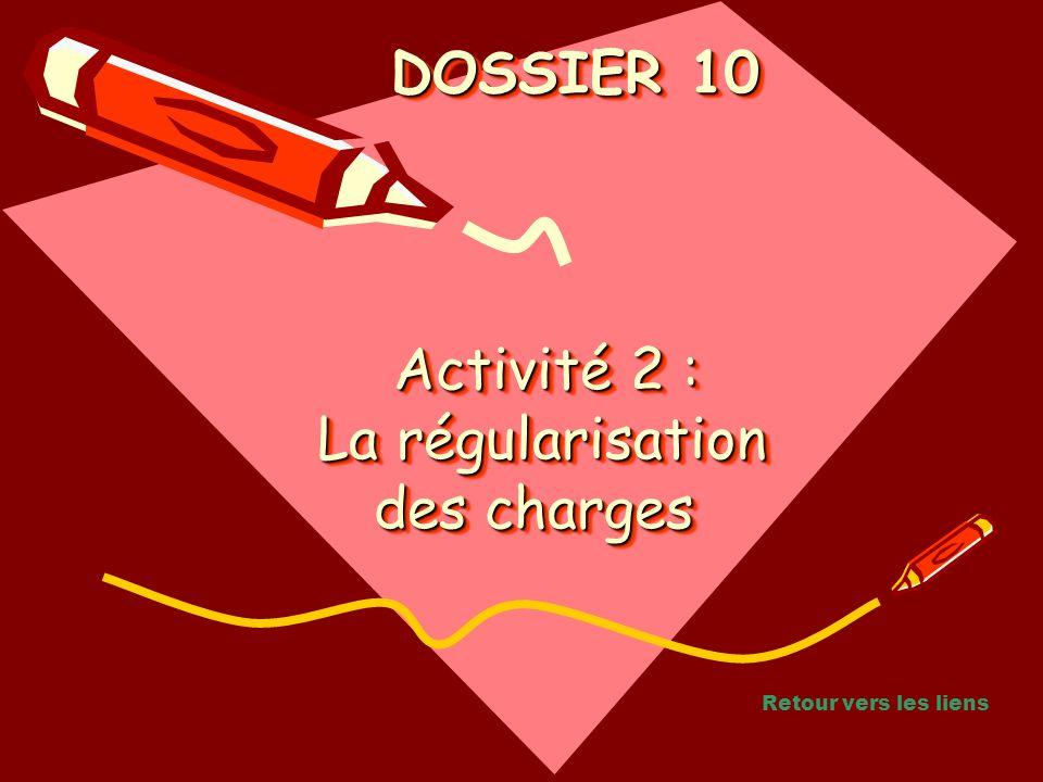 Activité 2 : La régularisation des charges Activité 2 : La régularisation des charges Activité 2 : La régularisation des charges DOSSIER 10 DOSSIER 10 Retour vers les liens