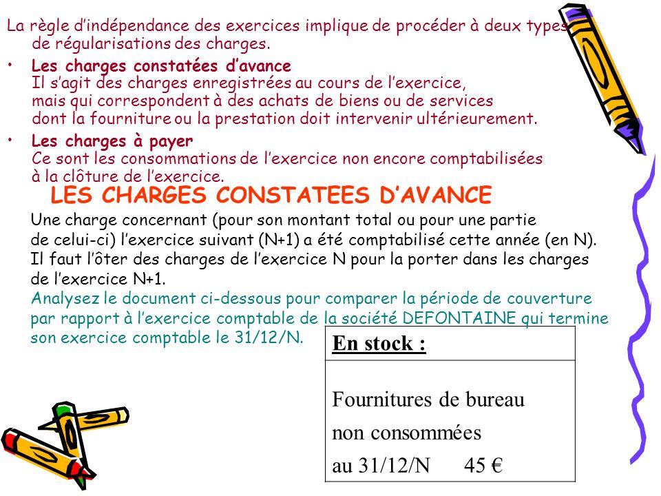 LES CHARGES CONSTATEES DAVANCE Une charge concernant (pour son montant total ou pour une partie de celui-ci) lexercice suivant (N+1) a été comptabilisé cette année (en N).