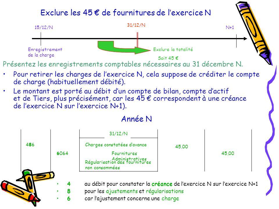 Exclure les 45 de fournitures de lexercice N Pour retirer les charges de lexercice N, cela suppose de créditer le compte de charge (habituellement débité).