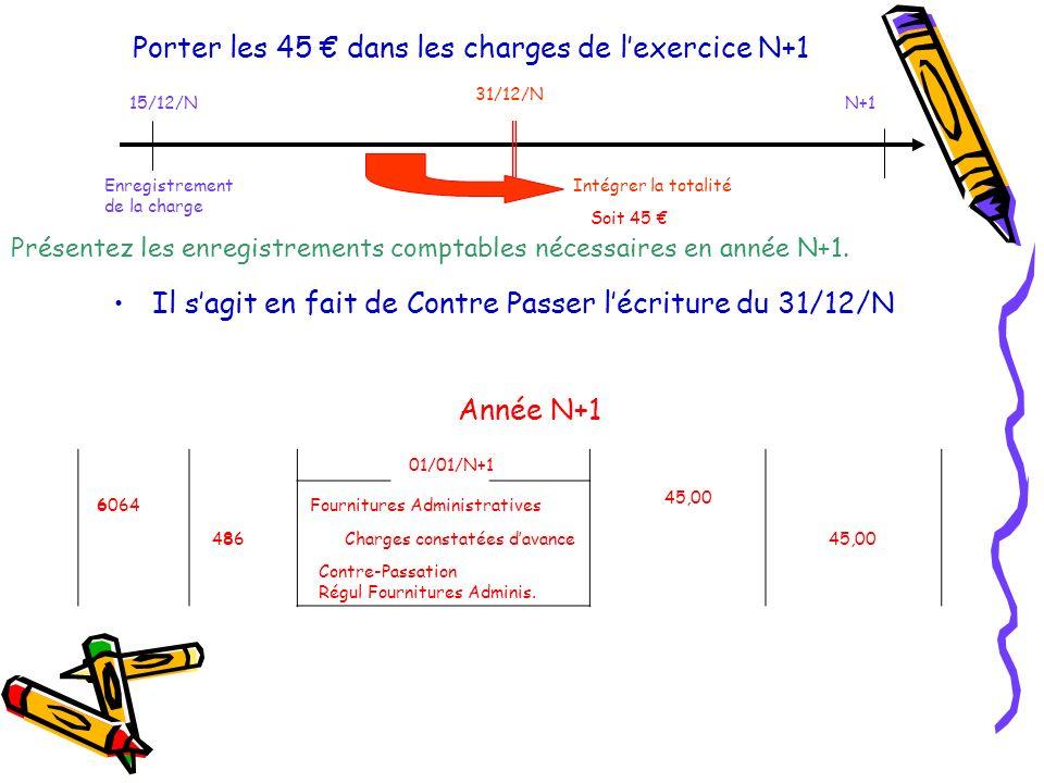 Porter les 45 dans les charges de lexercice N+1 Il sagit en fait de Contre Passer lécriture du 31/12/N 01/01/N+1 6064 Charges constatées davance 45,00