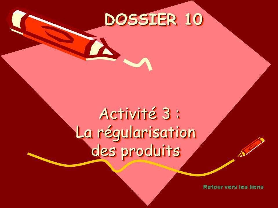 Activité 3 : La régularisation des produits Activité 3 : La régularisation des produits Activité 3 : La régularisation des produits DOSSIER 10 DOSSIER 10 Retour vers les liens