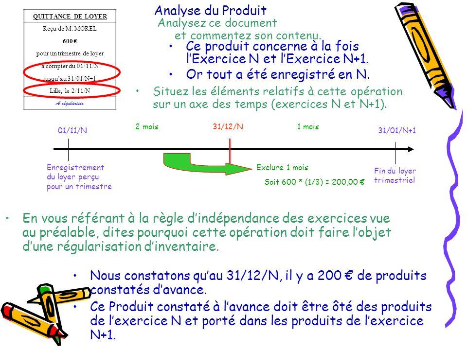 Analyse du Produit Ce produit concerne à la fois lExercice N et lExercice N+1. Or tout a été enregistré en N. 01/11/N Enregistrement du loyer perçu po