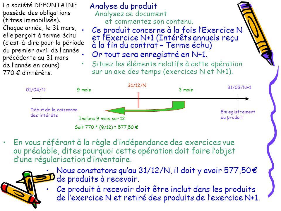 Analyse du produit Nous constatons quau 31/12/N, il doit y avoir 577,50 de produits à recevoir. Ce produit à recevoir doit être inclut dans les produi