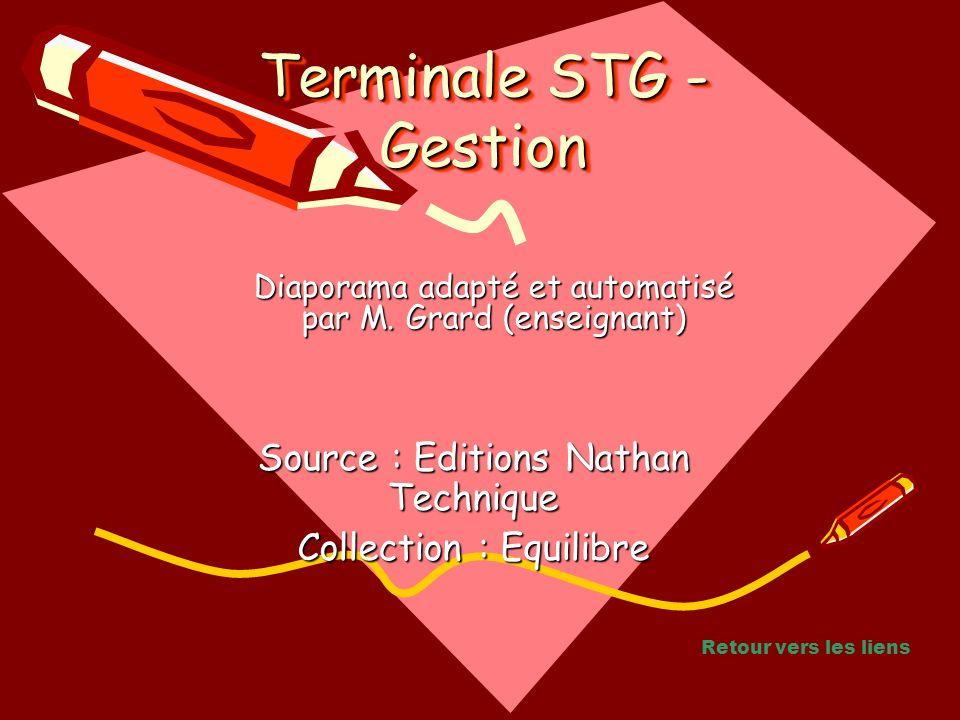 Source : Editions Nathan Technique Collection : Equilibre Diaporama adapté et automatisé par M. Grard (enseignant) Terminale STG - Gestion Retour vers