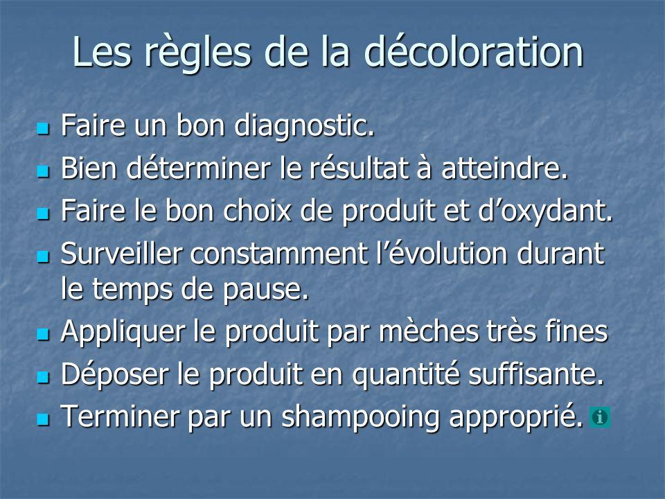 Les règles de la décoloration Faire un bon diagnostic. Faire un bon diagnostic. Bien déterminer le résultat à atteindre. Bien déterminer le résultat à