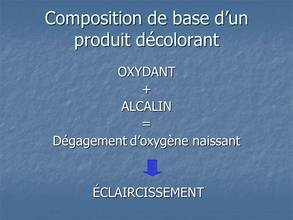 Composition de base dun produit décolorant OXYDANT+ALCALIN= Dégagement doxygène naissant ÉCLAIRCISSEMENT ÉCLAIRCISSEMENT