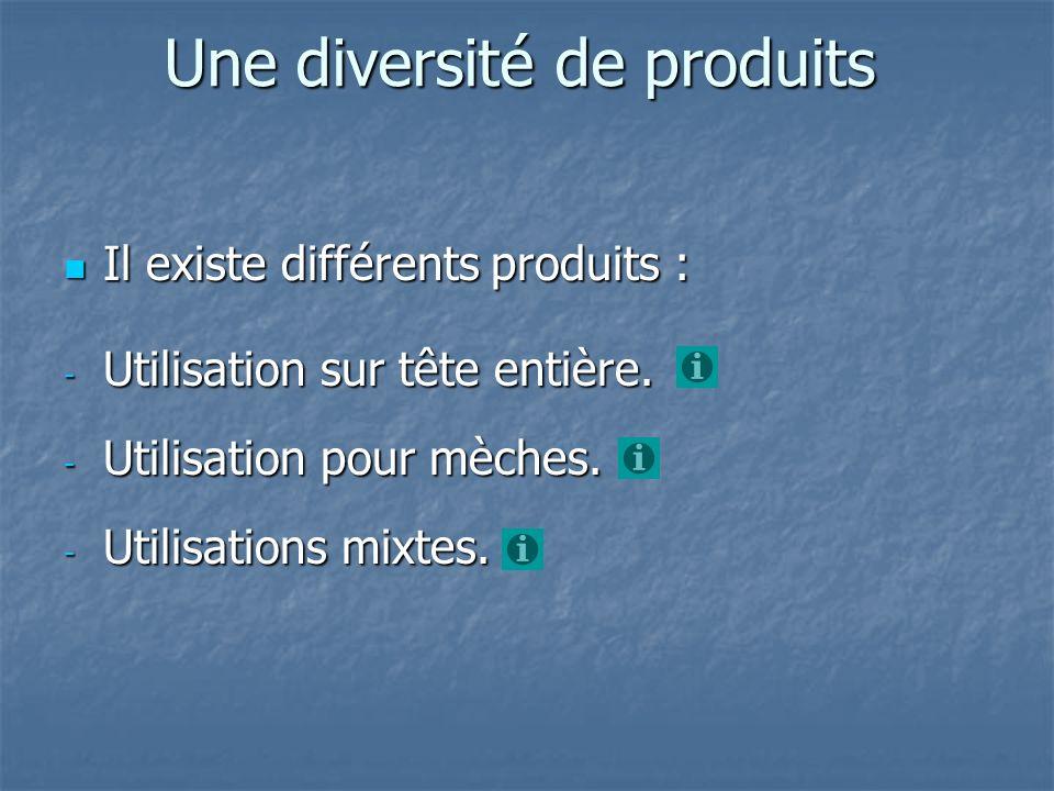 Une diversité de produits Il existe différents produits : Il existe différents produits : - Utilisation sur tête entière. - Utilisation pour mèches. -