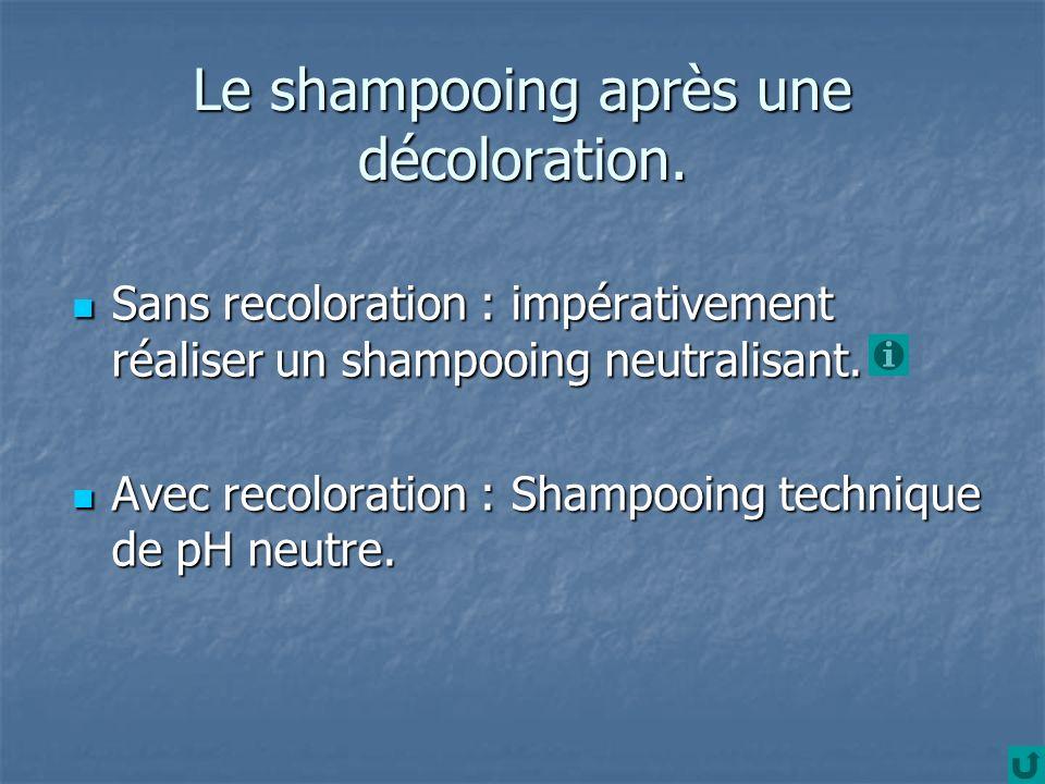 Le shampooing après une décoloration. Sans recoloration : impérativement réaliser un shampooing neutralisant. Sans recoloration : impérativement réali