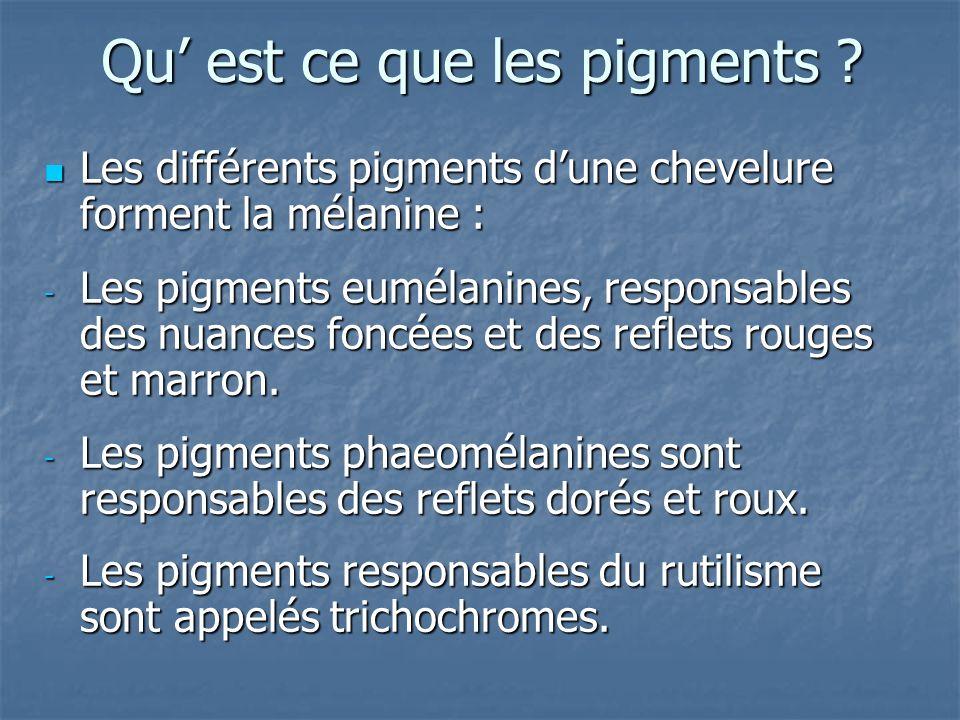 Qu est ce que les pigments ? Les différents pigments dune chevelure forment la mélanine : Les différents pigments dune chevelure forment la mélanine :