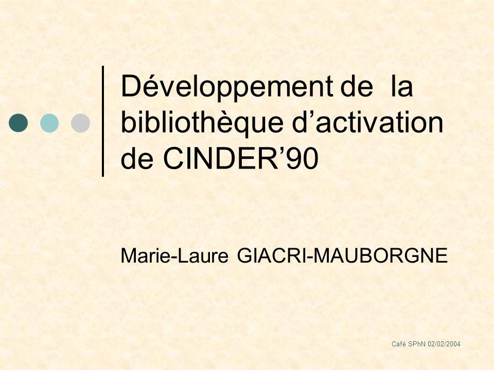Café SPhN 02/02/2004 Développement de la bibliothèque dactivation de CINDER90 Marie-Laure GIACRI-MAUBORGNE
