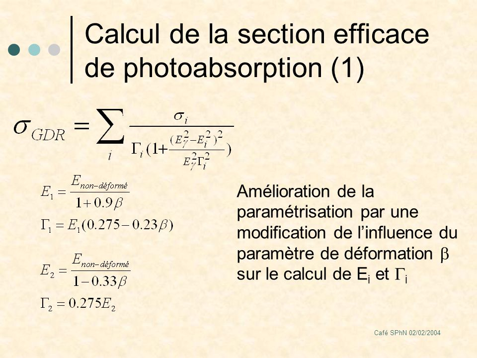Café SPhN 02/02/2004 Calcul de la section efficace de photoabsorption (1) Amélioration de la paramétrisation par une modification de linfluence du paramètre de déformation sur le calcul de E i et i