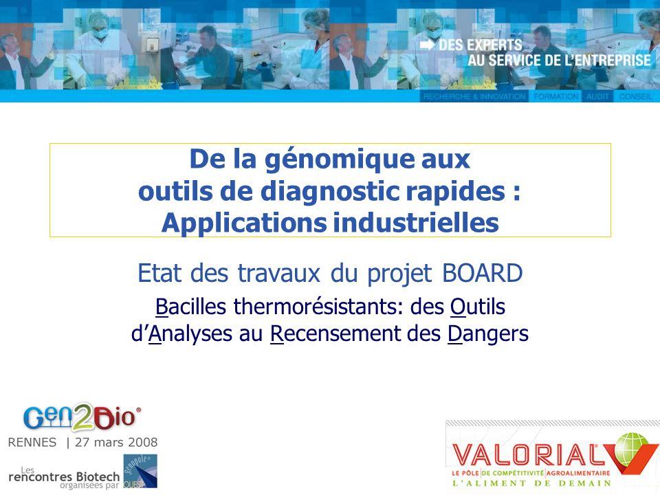 De la génomique aux outils de diagnostic rapides : Applications industrielles Etat des travaux du projet BOARD Bacilles thermorésistants: des Outils d