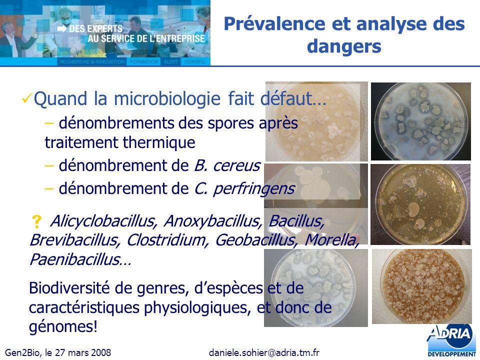 Gen2Bio, le 27 mars 2008daniele.sohier@adria.tm.fr Prévalence et analyse des dangers Quand la microbiologie fait défaut… – dénombrements des spores ap