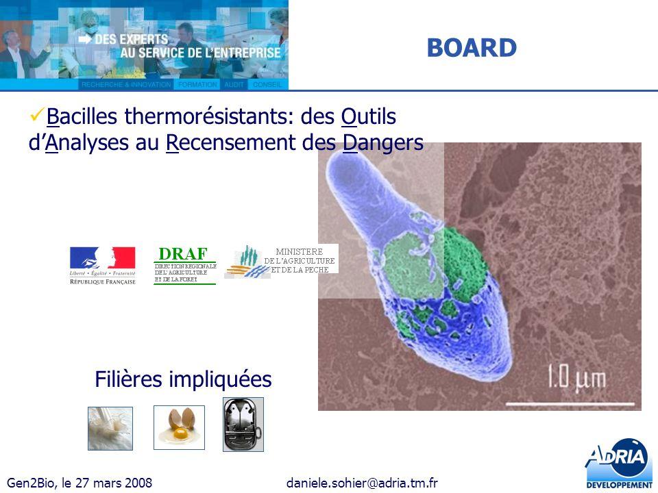 Gen2Bio, le 27 mars 2008daniele.sohier@adria.tm.fr Bacilles thermorésistants: des Outils dAnalyses au Recensement des Dangers Filières impliquées BOAR