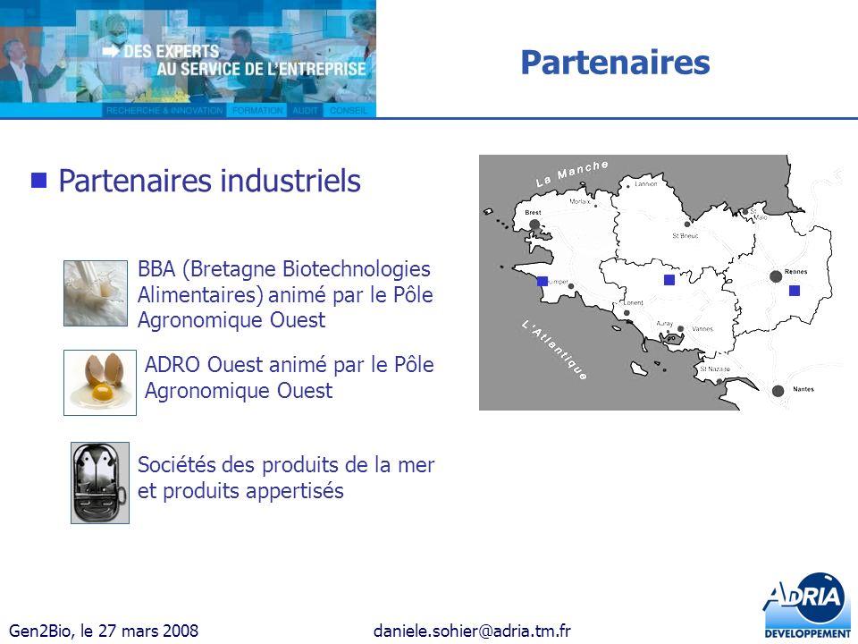 Gen2Bio, le 27 mars 2008daniele.sohier@adria.tm.fr BBA (Bretagne Biotechnologies Alimentaires) animé par le Pôle Agronomique Ouest ADRO Ouest animé pa