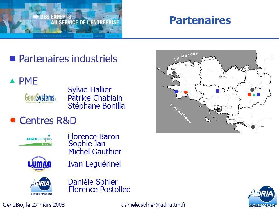 Gen2Bio, le 27 mars 2008daniele.sohier@adria.tm.fr Partenaires industriels PME Centres R&D Partenaires Sylvie Hallier Patrice Chablain Stéphane Bonill