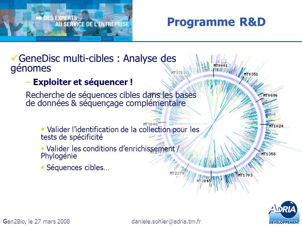 Gen2Bio, le 27 mars 2008daniele.sohier@adria.tm.fr Programme R&D GeneDisc multi-cibles : Analyse des génomes – Exploiter et séquencer ! Recherche de s