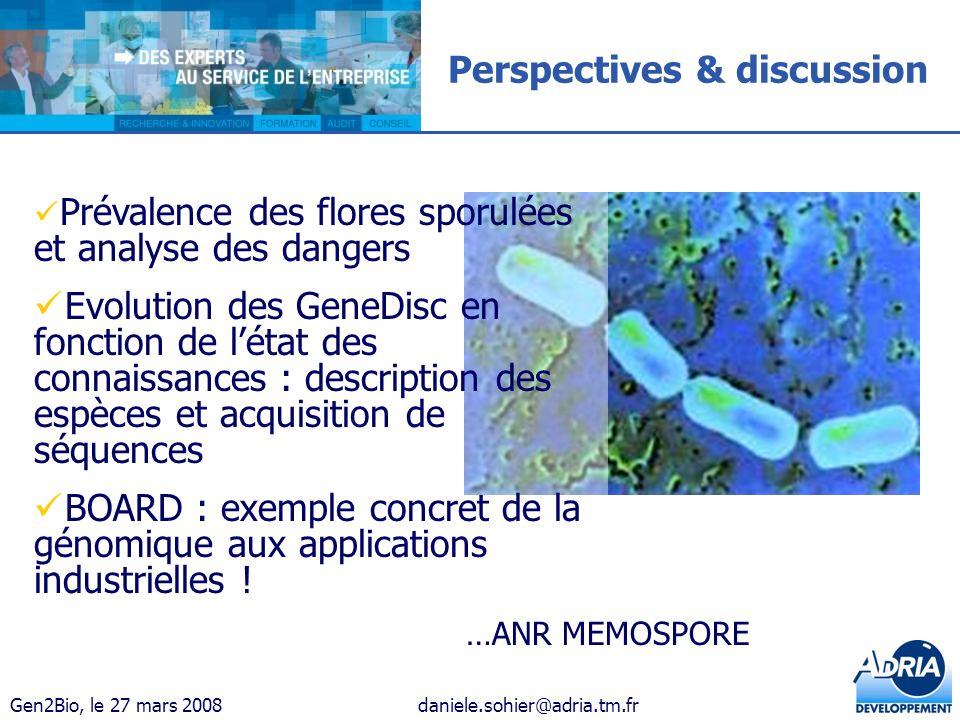 Gen2Bio, le 27 mars 2008daniele.sohier@adria.tm.fr Perspectives & discussion Prévalence des flores sporulées et analyse des dangers Evolution des Gene
