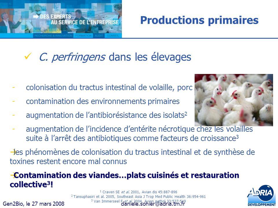 Gen2Bio, le 27 mars 2008daniele.sohier@adria.tm.fr Productions primaires C. perfringens dans les élevages 1 Craven SE et al. 2001, Avian dis 45:887-89