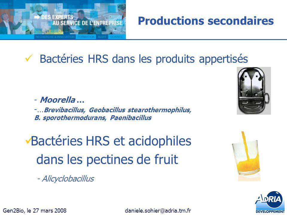 Gen2Bio, le 27 mars 2008daniele.sohier@adria.tm.fr Productions secondaires Bactéries HRS dans les produits appertisés - Moorella … -… Brevibacillus, G