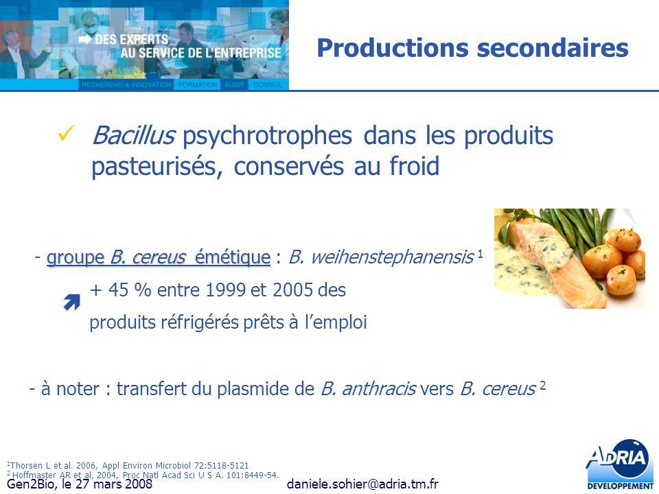 Gen2Bio, le 27 mars 2008daniele.sohier@adria.tm.fr Productions secondaires Bacillus psychrotrophes dans les produits pasteurisés, conservés au froid g
