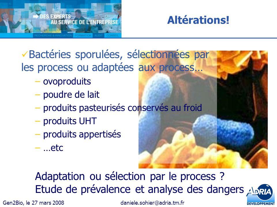 Gen2Bio, le 27 mars 2008daniele.sohier@adria.tm.fr Altérations! Adaptation ou sélection par le process ? Etude de prévalence et analyse des dangers Ba