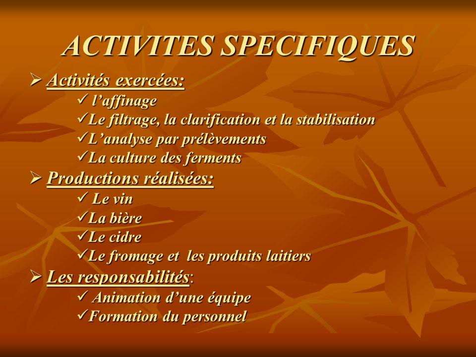ACTIVITES SPECIFIQUES Activités exercées: Activités exercées: laffinage laffinage Le filtrage, la clarification et la stabilisation Le filtrage, la cl