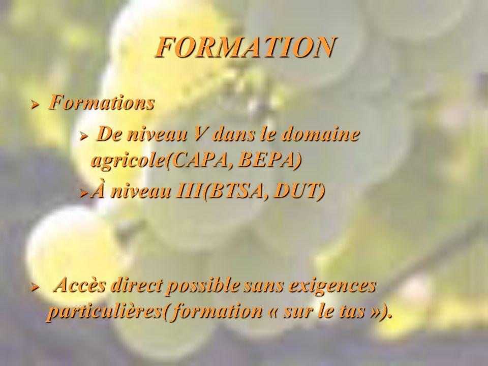 FORMATION Formations Formations De niveau V dans le domaine agricole(CAPA, BEPA) De niveau V dans le domaine agricole(CAPA, BEPA) À niveau III(BTSA, DUT) À niveau III(BTSA, DUT) Accès direct possible sans exigences particulières( formation « sur le tas »).