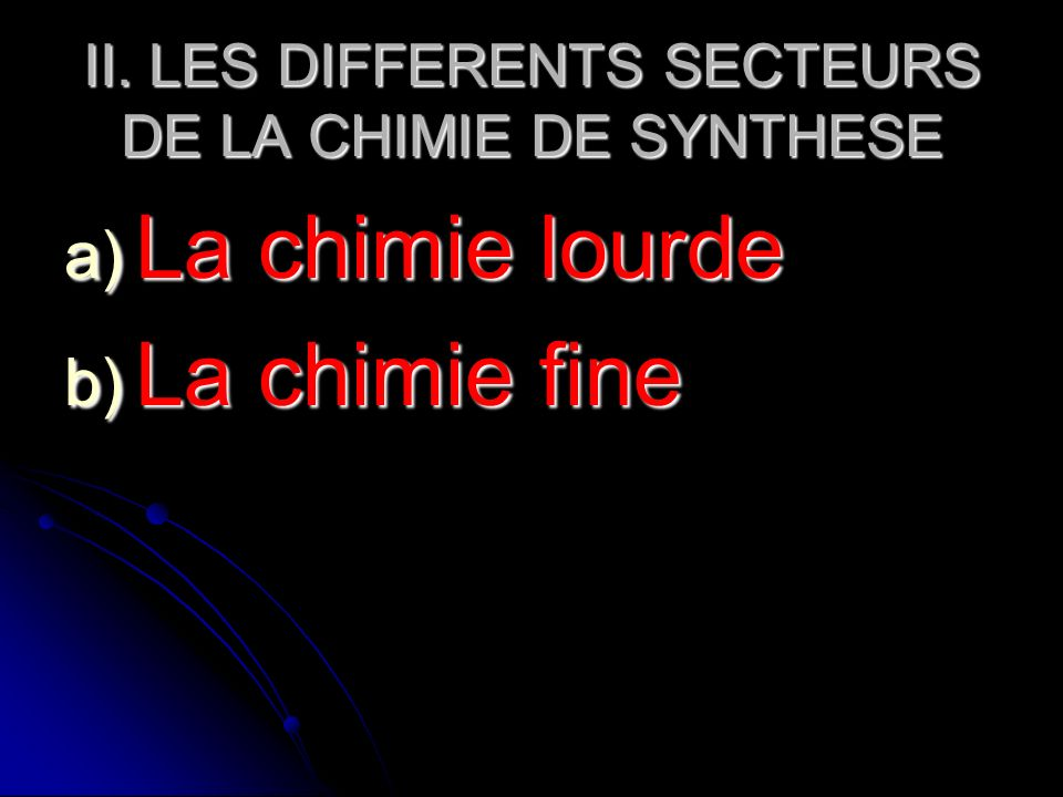 II. LES DIFFERENTS SECTEURS DE LA CHIMIE DE SYNTHESE a) La chimie lourde b) La chimie fine
