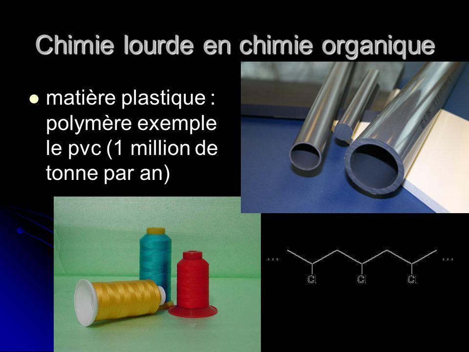 Chimie lourde en chimie organique matière plastique : polymère exemple le pvc (1 million de tonne par an)