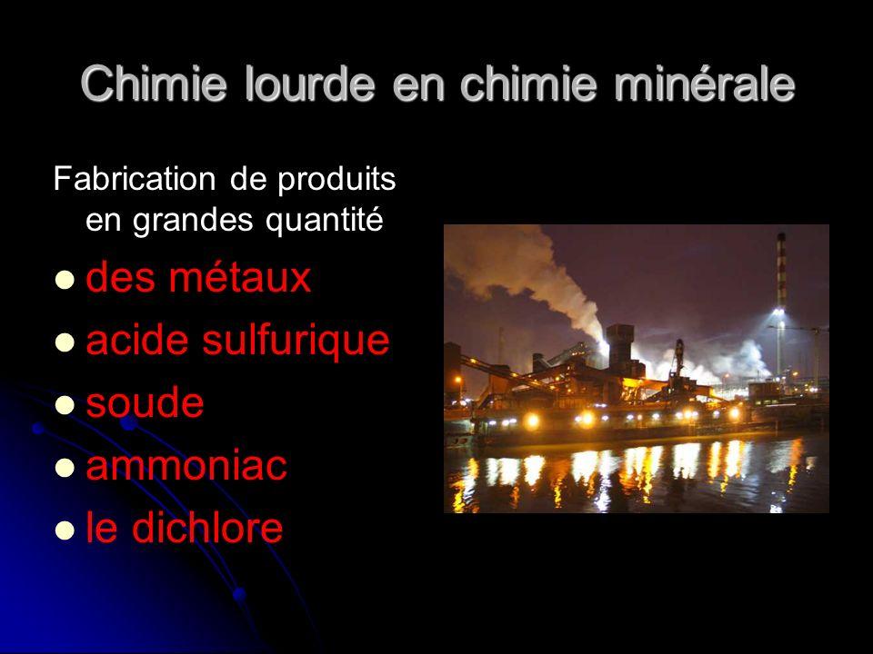 Chimie lourde en chimie minérale Fabrication de produits en grandes quantité des métaux acide sulfurique soude ammoniac le dichlore