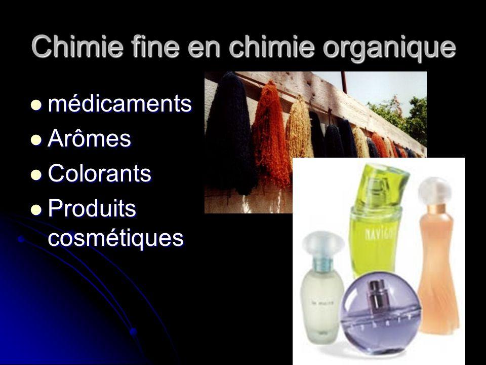 Chimie fine en chimie organique médicaments médicaments Arômes Arômes Colorants Colorants Produits cosmétiques Produits cosmétiques