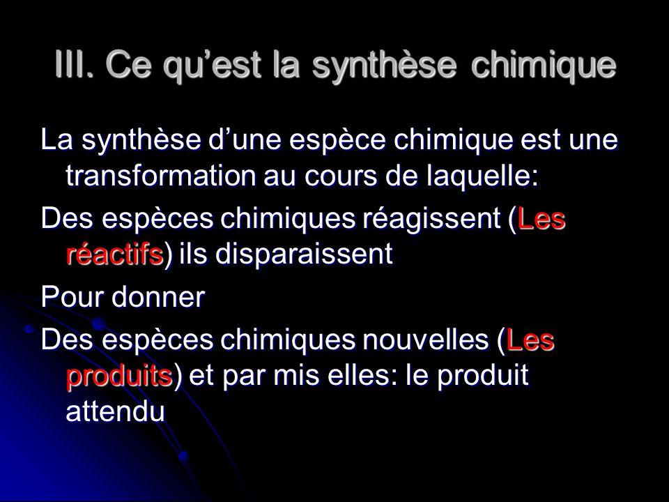 III. Ce quest la synthèse chimique La synthèse dune espèce chimique est une transformation au cours de laquelle: Des espèces chimiques réagissent (Les