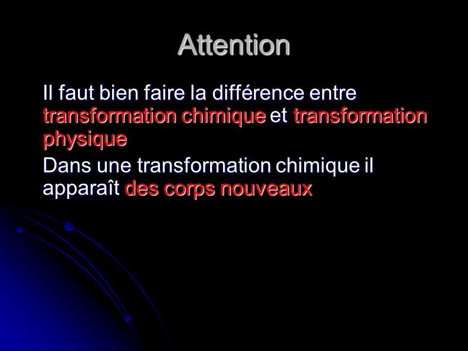 Attention Il faut bien faire la différence entre transformation chimique et transformation physique Dans une transformation chimique il apparaît des c