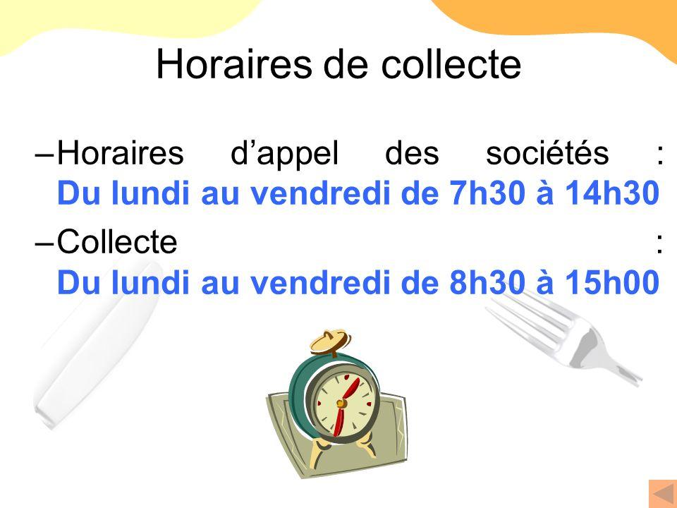 Horaires de collecte –Horaires dappel des sociétés : Du lundi au vendredi de 7h30 à 14h30 –Collecte : Du lundi au vendredi de 8h30 à 15h00