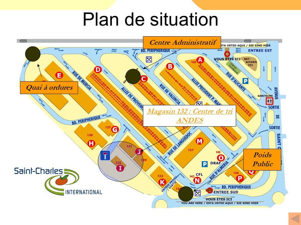 Plan de situation Centre Administratif Quai à ordures Poids Public Magasin 132 : Centre de tri ANDES