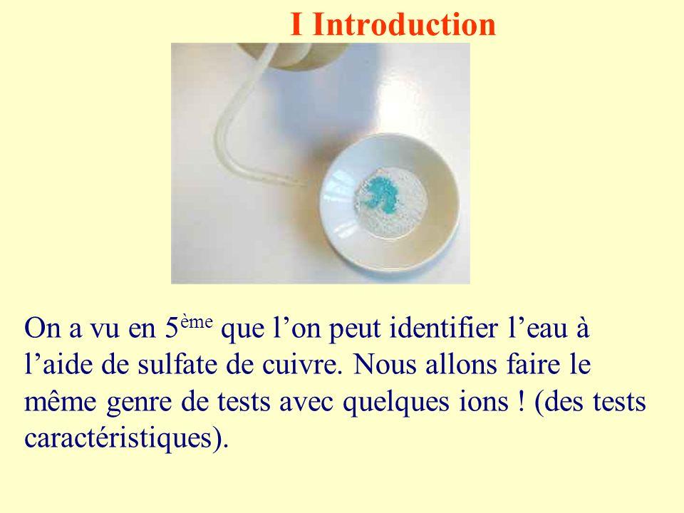 I Introduction On a vu en 5 ème que lon peut identifier leau à laide de sulfate de cuivre.