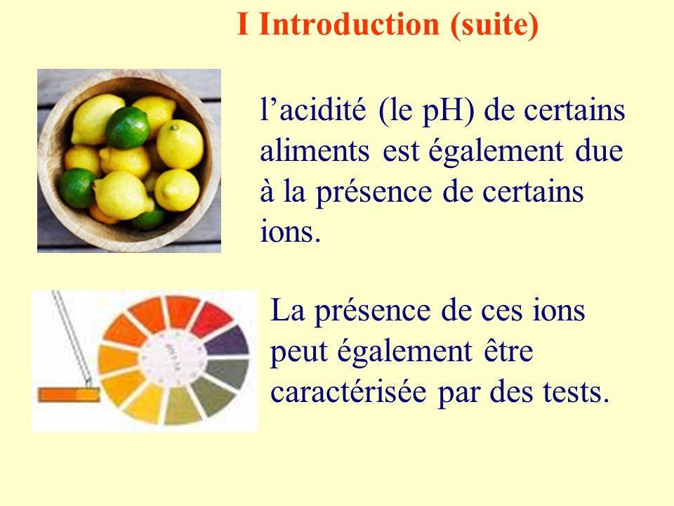 I Introduction (suite) lacidité (le pH) de certains aliments est également due à la présence de certains ions.