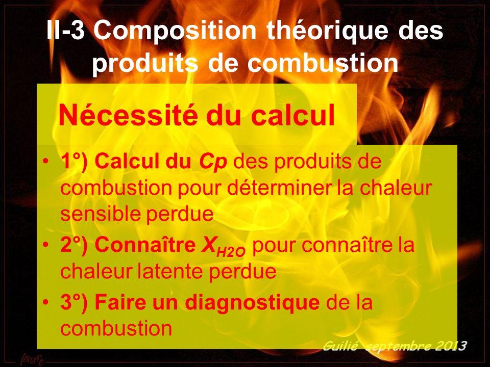 Nécessité du calcul 1°) Calcul du Cp des produits de combustion pour déterminer la chaleur sensible perdue 2°) Connaître X H2O pour connaître la chale