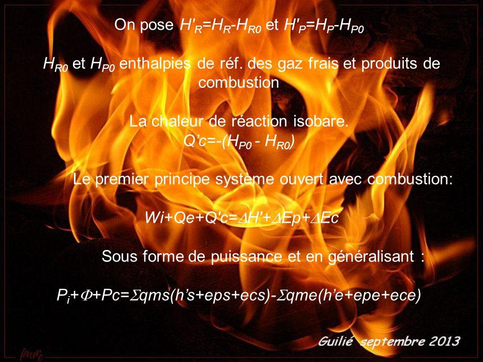 On pose H' R =H R -H R0 et H' P =H P -H P0 H R0 et H P0 enthalpies de réf. des gaz frais et produits de combustion La chaleur de réaction isobare. Qc=