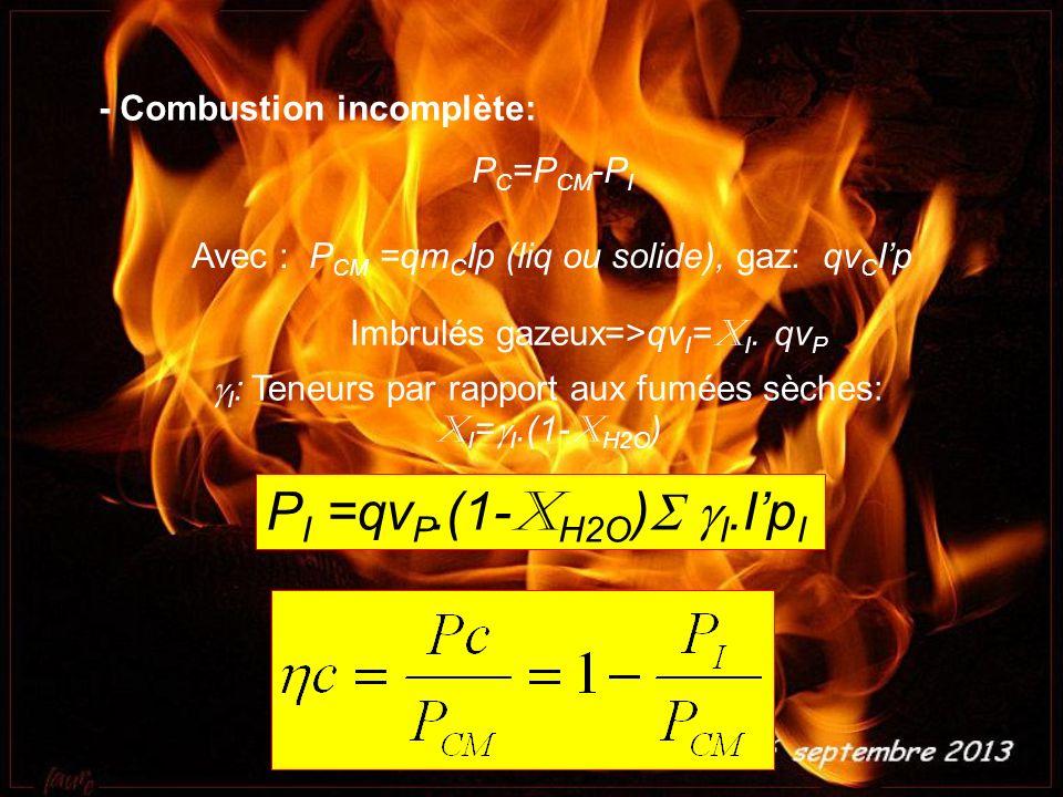 - Combustion incomplète: P C =P CM -P I Avec : P CM =qm C Ip (liq ou solide), gaz: qv C Ip Imbrulés gazeux=>qv I = X I. qv P I : Teneurs par rapport a