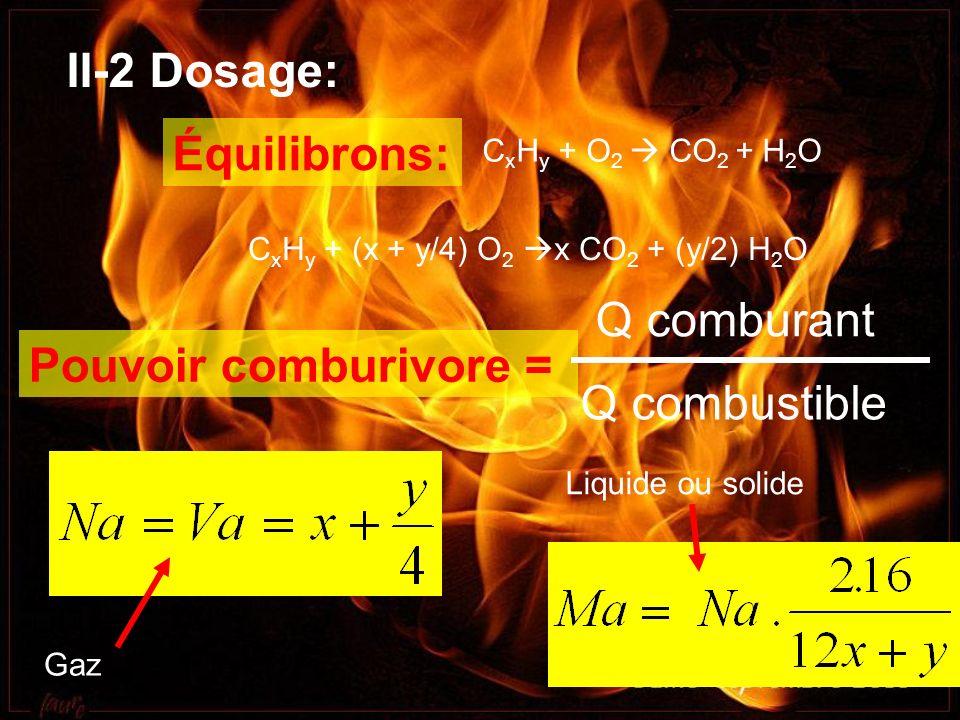 II-2 Dosage: C x H y + O 2 CO 2 + H 2 O C x H y + (x + y/4) O 2 x CO 2 + (y/2) H 2 O, Gaz Liquide ou solide Pouvoir comburivore = Équilibrons: Q combu