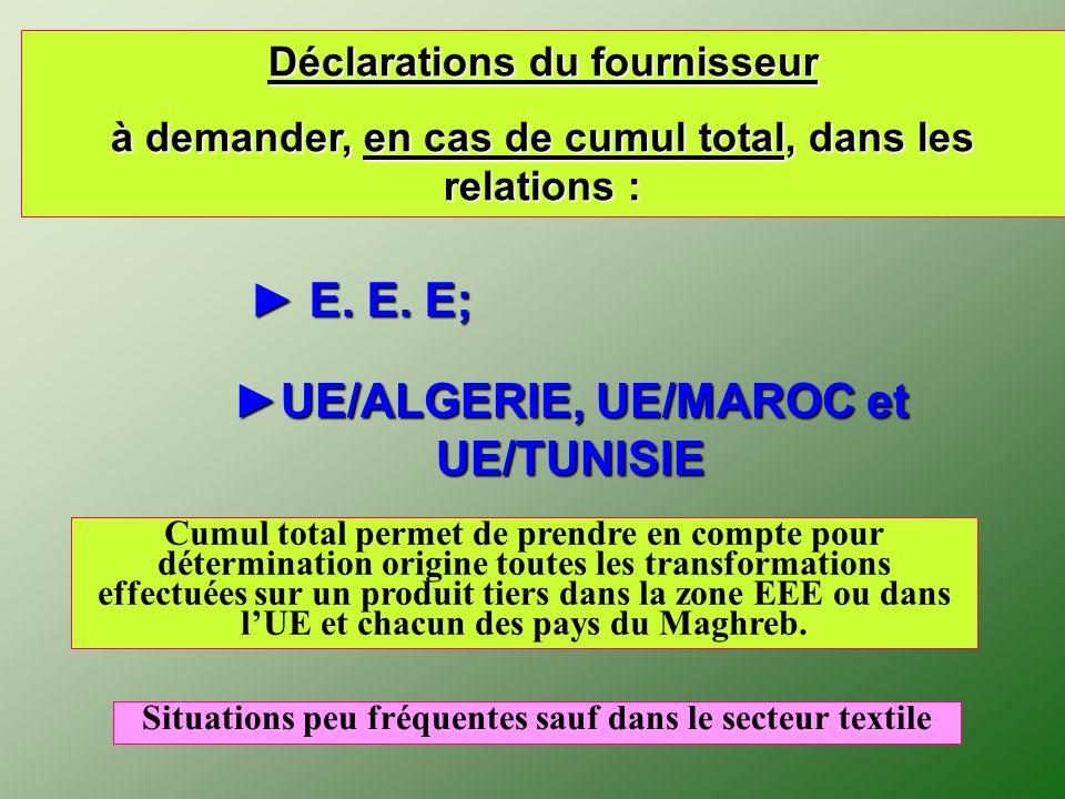 Déclarations du fournisseur à demander, en cas de cumul total, dans les relations : E. E. E; E. E. E; UE/ALGERIE, UE/MAROC et UE/TUNISIE Cumul total p
