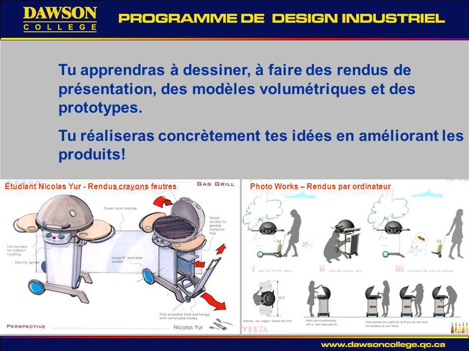 Tu apprendras à dessiner, à faire des rendus de présentation, des modèles volumétriques et des prototypes.