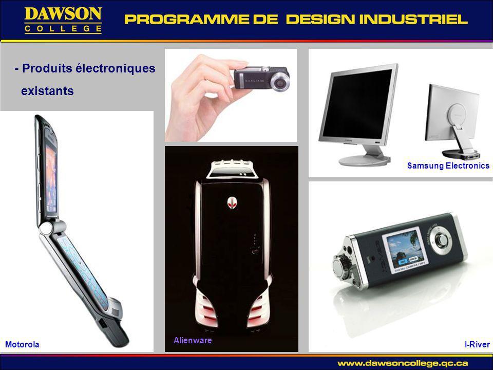 - Produits électroniques existants Motorola Alienware I-River Samsung Electronics