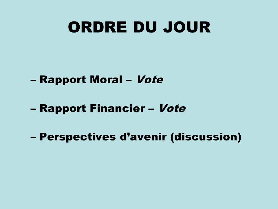 ORDRE DU JOUR –Rapport Moral – Vote –Rapport Financier – Vote –Perspectives davenir (discussion)