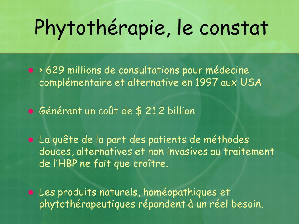 Phytothérapie, le constat > 629 millions de consultations pour médecine complémentaire et alternative en 1997 aux USA Générant un coût de $ 21.2 billi