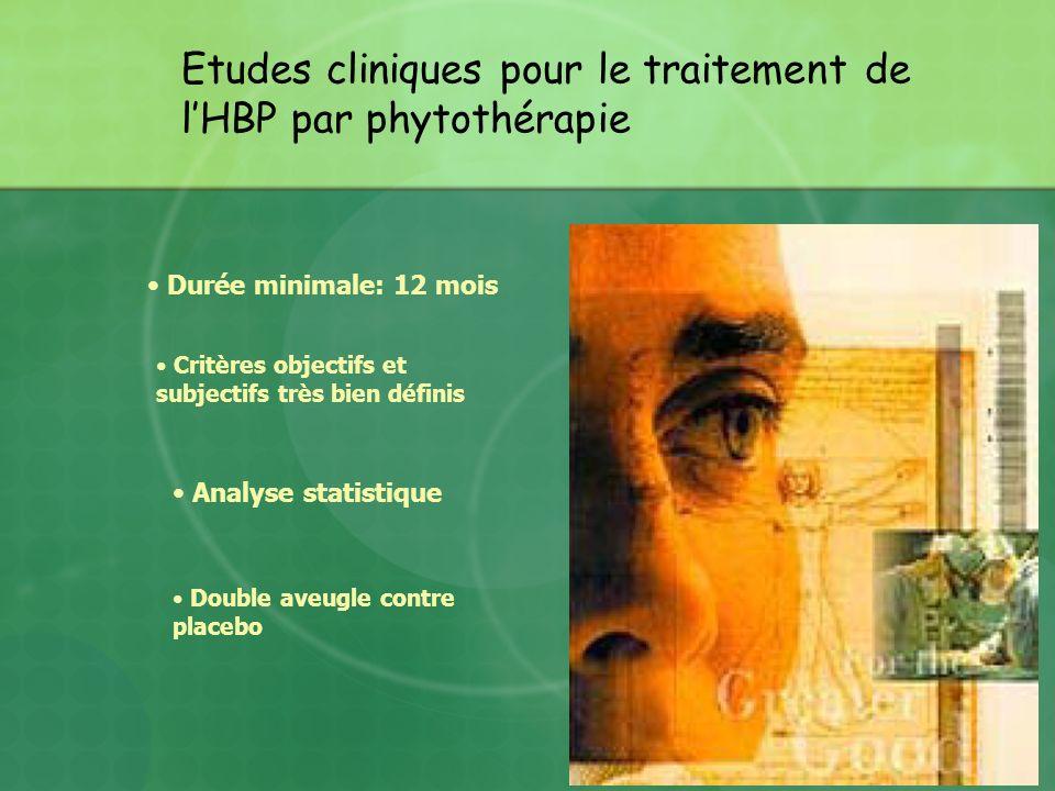 Etudes cliniques pour le traitement de lHBP par phytothérapie Durée minimale: 12 mois Double aveugle contre placebo Critères objectifs et subjectifs t