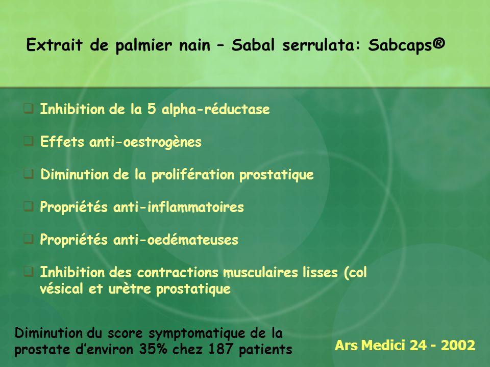 Extrait de palmier nain – Sabal serrulata: Sabcaps® Ars Medici 24 - 2002 Diminution du score symptomatique de la prostate denviron 35% chez 187 patien